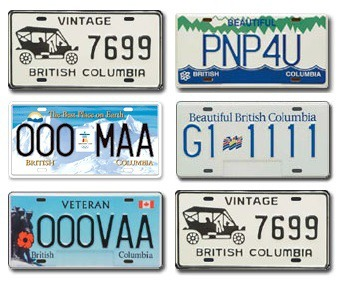 British Columbia Your Text Photo License Plate