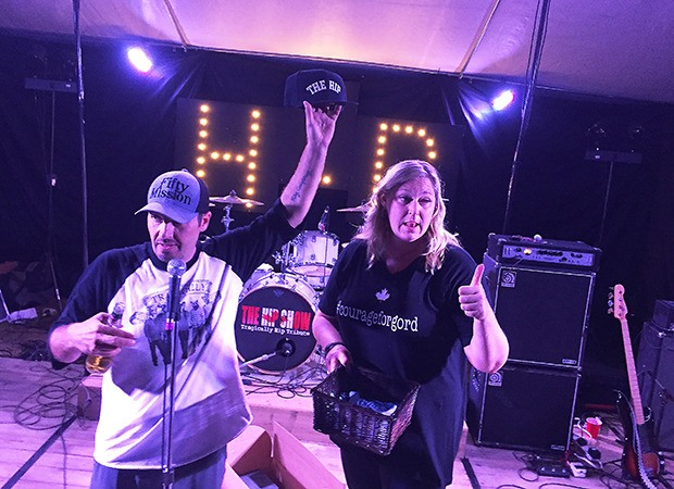 Jeremy Deane And Pal Dawn Reynolds Pigeon Address The Crowd Of Close To 200 People At A Tragically Hip Themed Party Fundraiser Home In Port