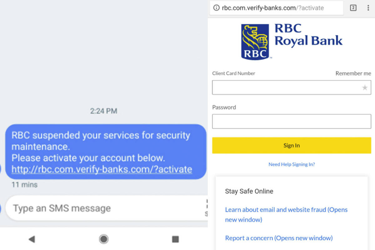 RBC warns of text message \'phishing\' scam - Surrey Now-Leader