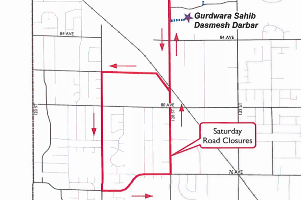 MAP: Road closures for Surrey Vaisakhi Parade this weekend