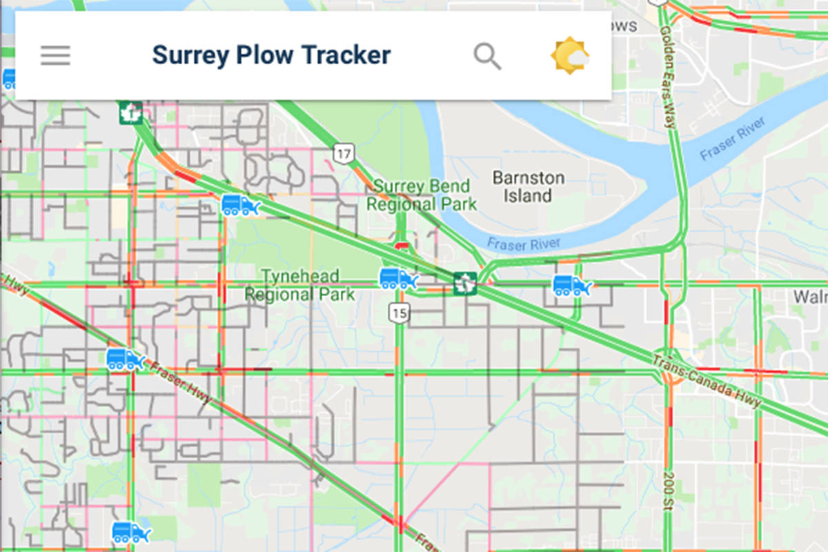 Surrey Canada Map.Armed With 17 000 Tonnes Of Salt Surrey Launches Snow Plow Tracker