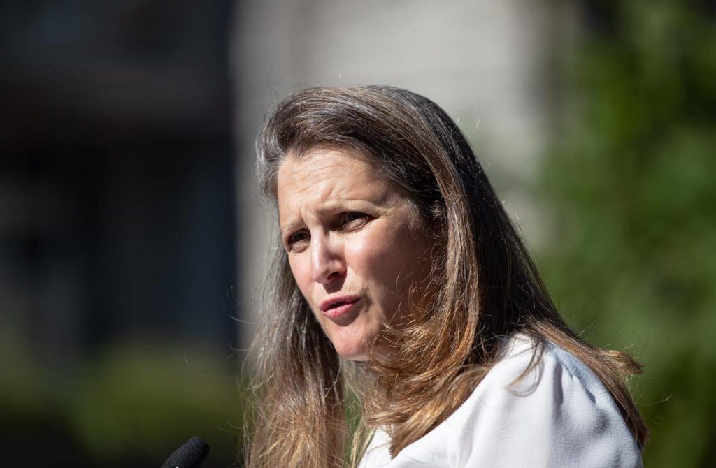 Freeland says Liberals will extend aid programs to October because of uneven rebound - Surrey Now-Leader